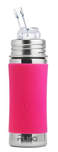 Pura Kiki 11 oz / 325 ml Stainless Steel Straw Bottle with Silicone Straw &...
