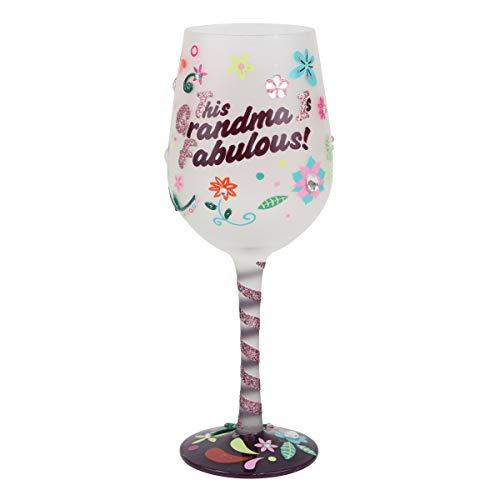 "Top Shelf ""This Grandma is Fabulous"" Wine Glass – Hand Painted Gift..."