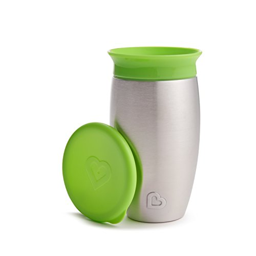 Munchkin Miracle Stainless Steel 360 Sippy Cup, Green, 10 Ounce