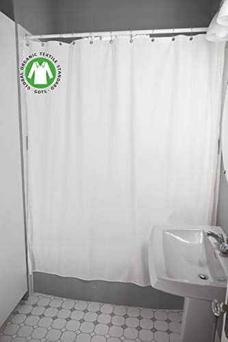 Bean Products Organic Cotton Shower Curtain - 70' x 74'  - White - Also...
