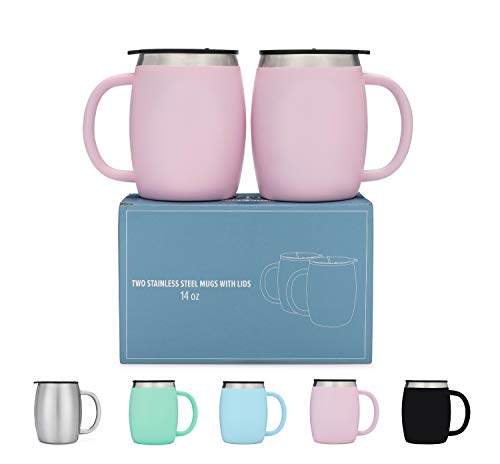 Stainless Steel Coffee Mugs with Lids - 14 Oz Double Walled Insulated...