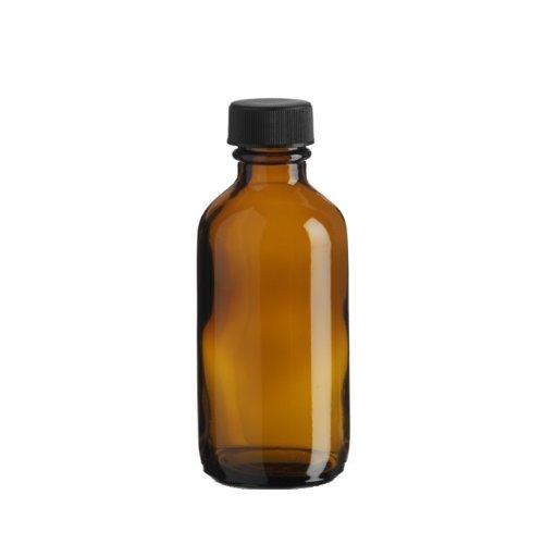 Premium Vials B26-12AM Boston Round Glass Bottle with Cap, 2 oz Capacity,...
