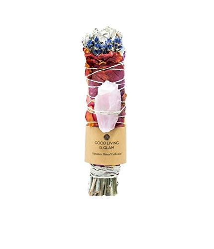 Floral Sage Smudge Stick with Rose, Lavender & Rose Quartz Crystal