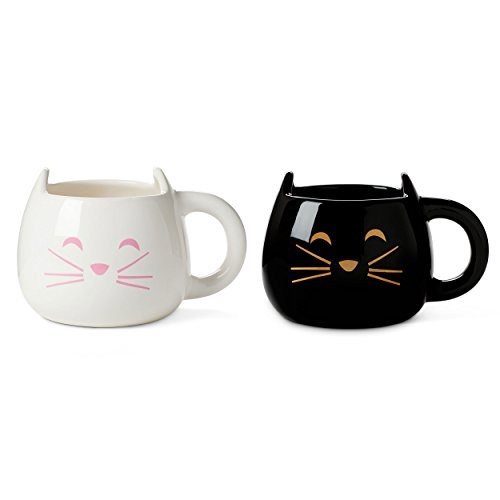 Cute Cat Mug for Coffee or Tea: Ceramic Cup for Cat Lovers with Black and...