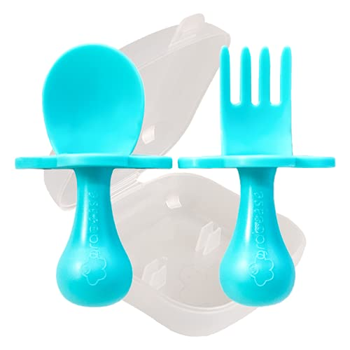grabease First Self Feed Baby Utensils with a to-Go Case - Anti-Choke,...