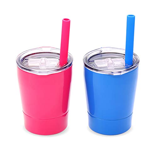 Colorful PoPo Small Cute Kids Cups 2 Pack, Stainless Steel Kid Tumbler with...