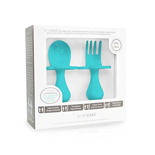Grabease Baby and Toddler Self-Feeding Utensils – Spoon and Fork Set for...