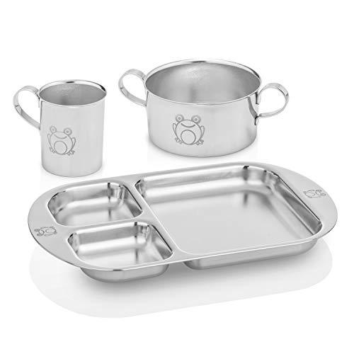 Kiddobloom Children Stainless Steel Dinnerware Set, Frog (1 Bowl, 1 Cup, 1...