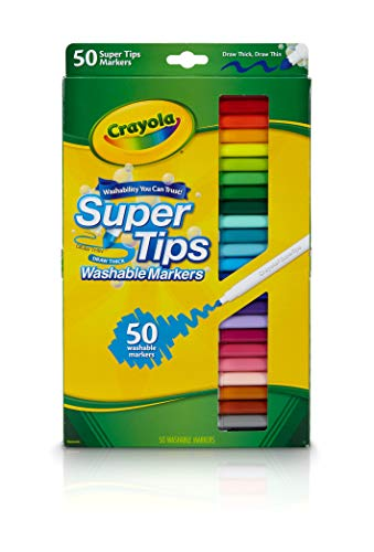 Crayola Super Tips Markers, Washable Markers, Gift, 50 Count