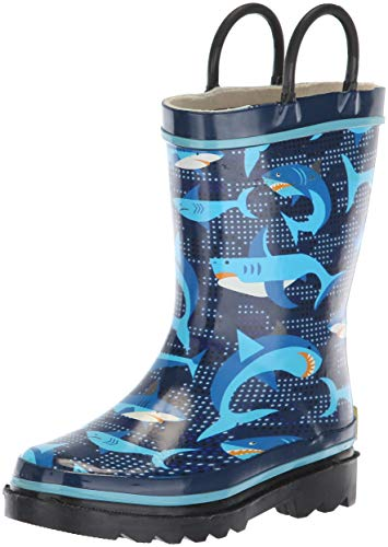 Western Chief Kids Waterproof Printed Rain Boot with Easy Pull On Handles,...