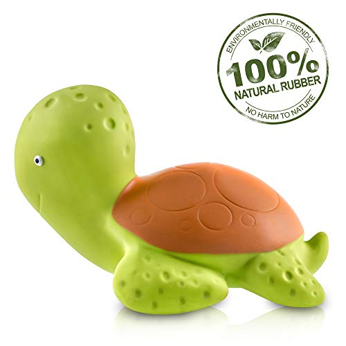 Pure Natural Rubber Baby Bath Toy - Mele the Sea Turtle - Without Holes,...