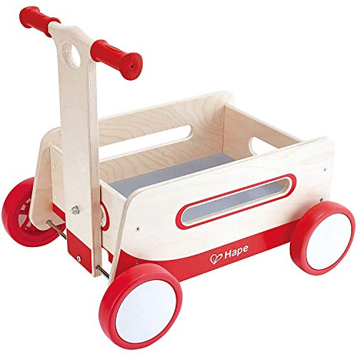 Hape Red Wonder Wagon Wooden Push and Pull Toddler Ride On Balance 4 Wheels...