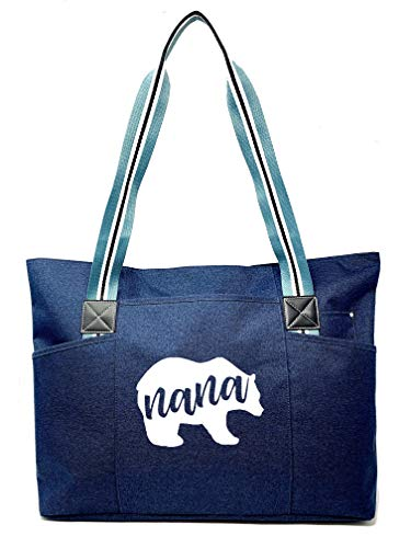 Large Zippered Tote Bags with Pockets for Grandma Gifts - TGIF Natural