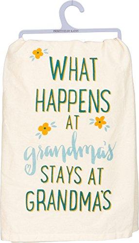 Primitives By Kathy Dish Towel - What Happens At Grandma's Stays At...