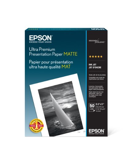 Epson Ultra Premium Presentation Paper MATTE (8.5x11 Inches, 50 Sheets)...