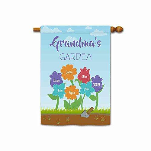 KafePross Custom Grandma's Garden House Flag Featuring The Names of Her...