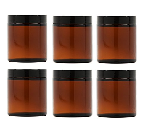 Premium Vials, 8 Oz AMBER Glass Jar Straight Sided with Black Lid - Pack of...