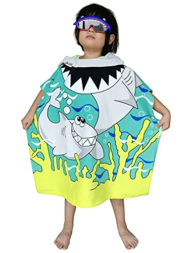 Kids Hooded Poncho Towel with Bright Shark for Bath Pool Beach Times, Soft...