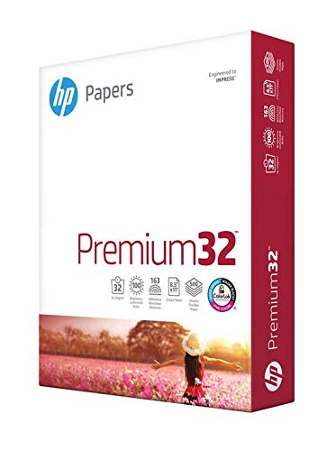 HP Paper Printer Paper 8.5x11 Premium 32 lb 1 Ream 500 Sheets 100 Bright...