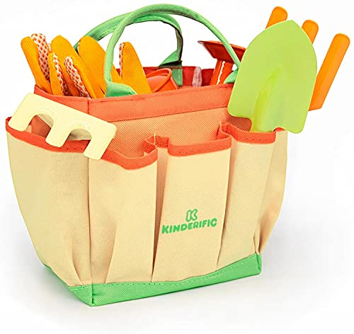 Kinderific Gardening Set, Tool Kit, For Kids, STEM, Includes Tote Bag,...