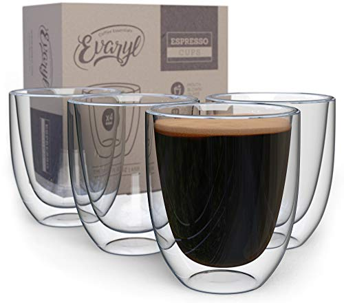 Double Wall Espresso Cups Set - Insulated Coffee Shot Glasses - 2.6oz, Set...
