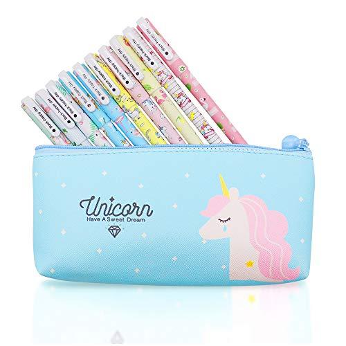 10 pcs Unicorn Flamingo Gel Pens Set with Unicorn Pen Pencil Case,Fine...
