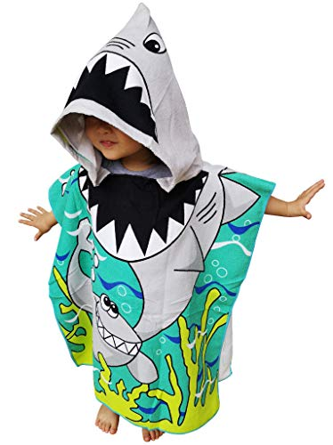 Athaelay Kids Hooded Poncho Towel with Bright Shark for Bath Pool Beach...