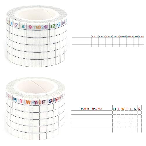 LAOMIS Japanese Washi Paper Tape for Planners/Set of 2 / Habit Tracker [...