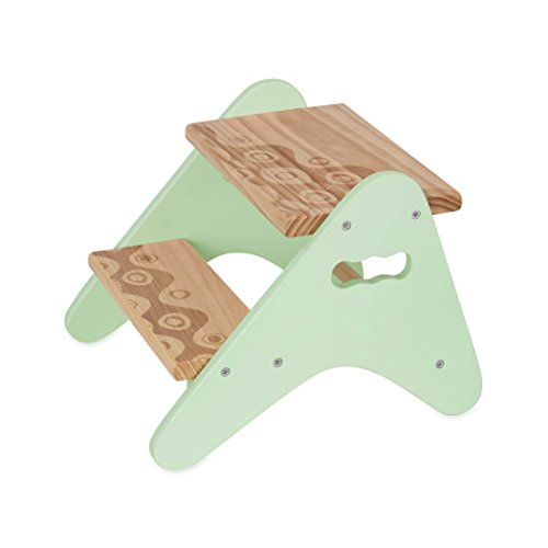 B. spaces by Battat - Peek-A-Boost – Wooden Two-Step Stool – Mint &...