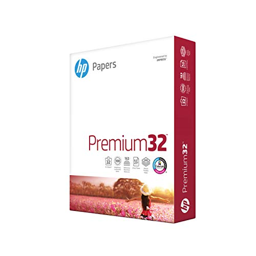 HP Paper Printer Paper 8.5x11 Premium 32 lb 1 Ream 500 Sheets 100 Bright...