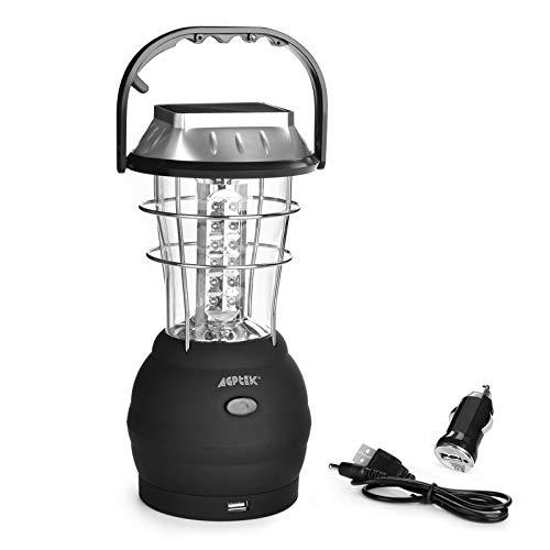 AGPTEK Solar Lantern, 5 Mode Hand Crank Dynamo 36 LED Rechargeable Camping...