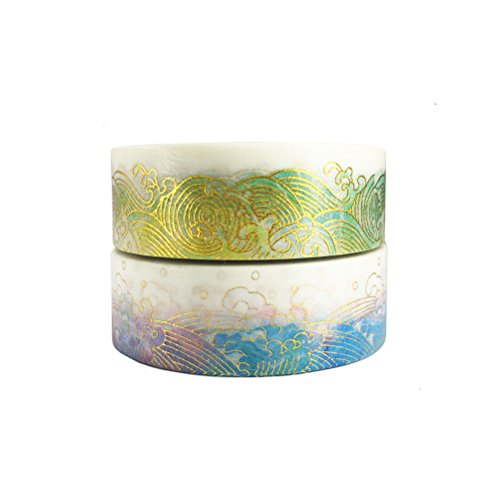Gold Washi Tape Set of 2 Rolls – Unique design Gold Colorful Sea Wave...