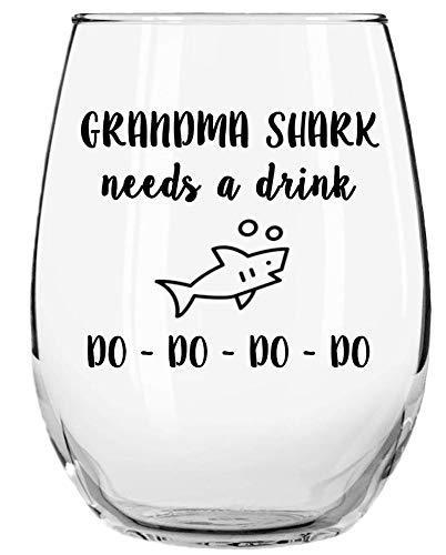 Grandma Shark Needs a Drink Do Do Do Do Funny Novelty Libbey Stemless Wine...