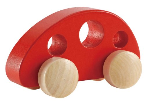 Hape Mini Van Wooden Toddler Toy Vehicle in Red, L: 4.9, W: 2.5, H: 2.8...