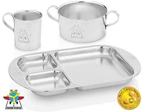 Kiddobloom Kids Stainless Steel Dinnerware Set, Frog (1 Kids Bowl, 1 Kids...
