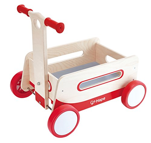 Hape Red Wonder Wagon Wooden Push and Pull Toddler Ride On