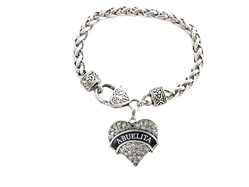 Abuelita Crystal Heart Silver Lobster Claw Bracelet Jewelry Abuela...