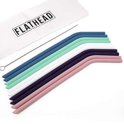 Flathead Set of 10 Reusable Silicone Drinking Straws - Extra long for 30oz...