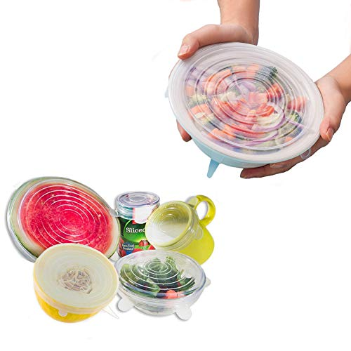 Amsuper-Kitchen Stretch Lids,6-Pack Reusable,Durable and Flexible Silicone...