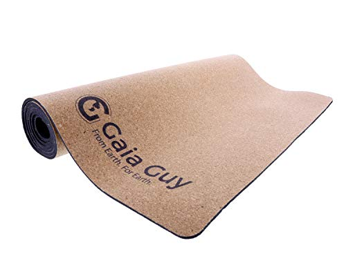 "Gaia Guy Custom Natural Cork and Natural Rubber Yoga Mat, 72"" x 24"" x 5mm..."
