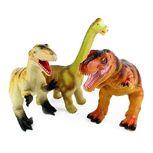 Boley Jumbo Dinosaur Toy Set - 3 Pack Big Soft Cotton-Stuffed Plastic...
