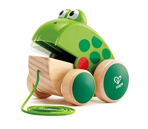 Hape Frog Pull-Along | Wooden Frog Fly Eating Pull Toddler Toy, Bright...