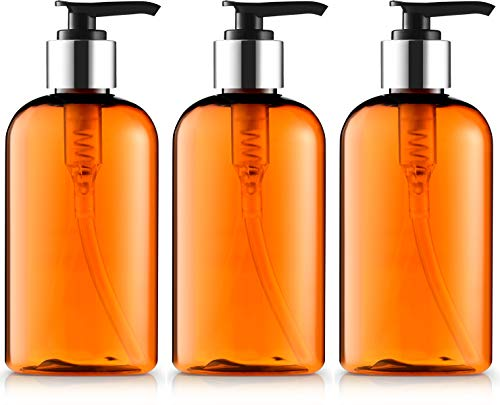 Empty Lotion Bottles 8 Oz. with Black-Silver Pump Dispenser, Light-Amber...