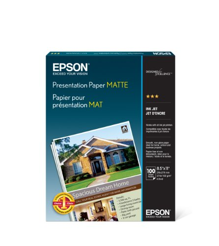 Epson S041062 Matte Presentation Paper, 27 lbs., Matte, 8-1/2 x 11 (Pack of...
