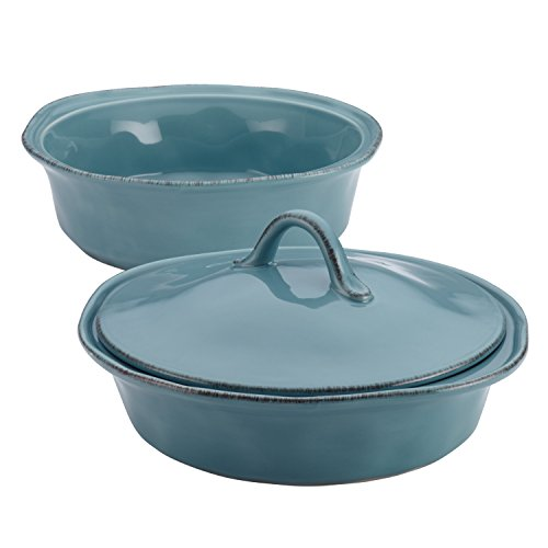 Rachael Ray Cucina Casserole Dish Set with Lid, 3 Piece, Agave Blue
