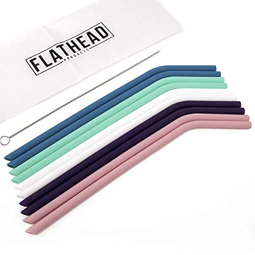 Flathead Bent Reusable Silicone Drinking Straws w/Cleaning Brush - Extra...