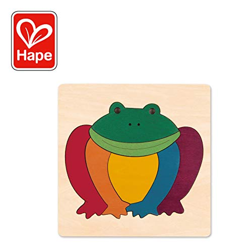 Hape George Luck Rainbow Frog Wood Puzzle (8 Piece)
