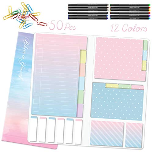 Hommie Divider Sticky Notes Set with 12 Colors Journal Planner Pens and 50...