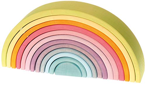 Grimm's Large 12-Piece Rainbow Stacker - Wooden Nesting Puzzle/Creative...