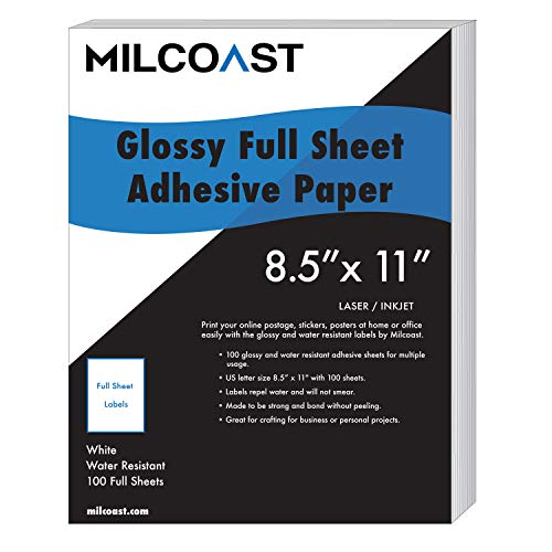 Milcoast Full Sheet 8.5' x 11' Shipping Sticker Paper Adhesive Labels...